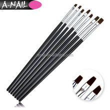 High Quality 7pcs Black Wood UV Gel Acrylic Nail brush with flat wide design for UV gel (NSB-17)