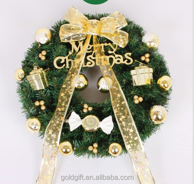 exquisite Christmas garland with bowknot for door decoration