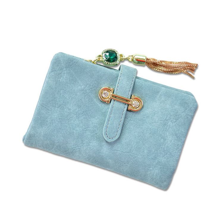 China Grind Vegan Color Tassel Pendant Short Ladies Coin Purse PU Leather Women's <strong>Wallet</strong>