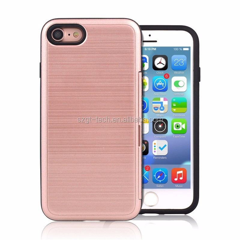 Hybrid 2 in 1 PC Silicon case Mobile Phone Card Holder Case for iPhone 7