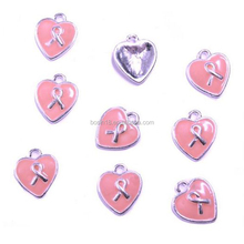 Pink Heart Shape Ribbon Charm Breast Cancer Awareness Charm Wholesale