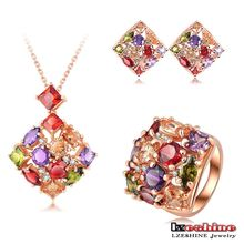 Luxury Multi-color Cubic Zirconia Square Shaped Necklace Earring Ring Sets 18 carat gold Plated jewelry sets Fashion ST0151