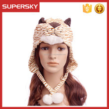 A-953 Fluffy Animal Beanie Hat Ear Muff Faux Fur Furry Animal Hat Animal Head Plush Children Hat with With Ear Flaps & Pom Poms