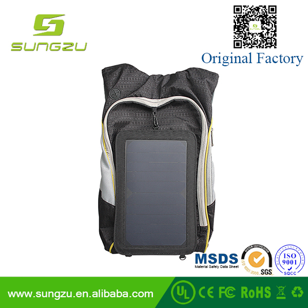 Outdoor Solar Backpack Charger Bag Removable 5W Solar Panel Back Pack for Cell Phones with 5V Devices charger