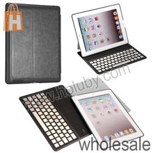 Ultra Slim Leather Flip Stand Aluminium Alloy Bluetooth Keyboard For iPad 2 the New iPad iPad 4 With PC Protective Shell