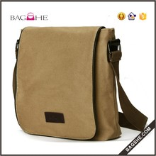 top sale cotton canvas men shoulder bag with back zipper pocket