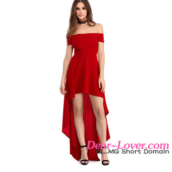 Latest Evening Dresses Adult New Sexy Red High Low Hem Off Shoulder Party Dress