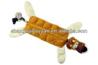 unstuffed plush squeaky pet toys/soft pet toy