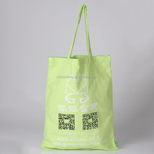 Green printing standard size canvas tote bag/rope handle tote bag