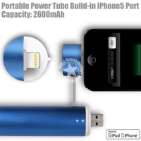 Power Tube 2600mAh Battery Pack For iPhone, iPod, Blackberry, HTC Made in China
