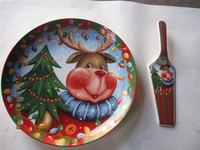 Haonai 2015 hot sale! ceramic christmas santa plate