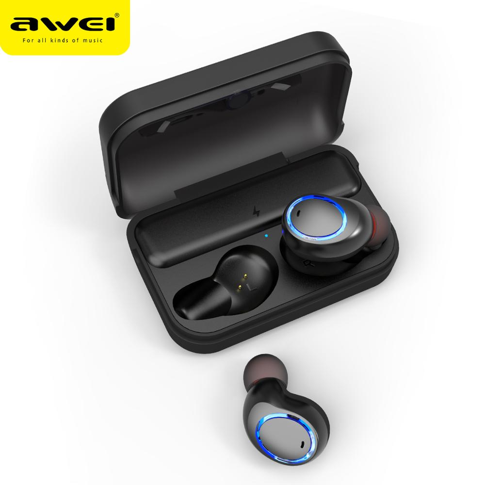 AWEI T3 OEM/ODM Factory Manufacturing Sport Stereo Mini True Wireless earphone bluetooth with charging case