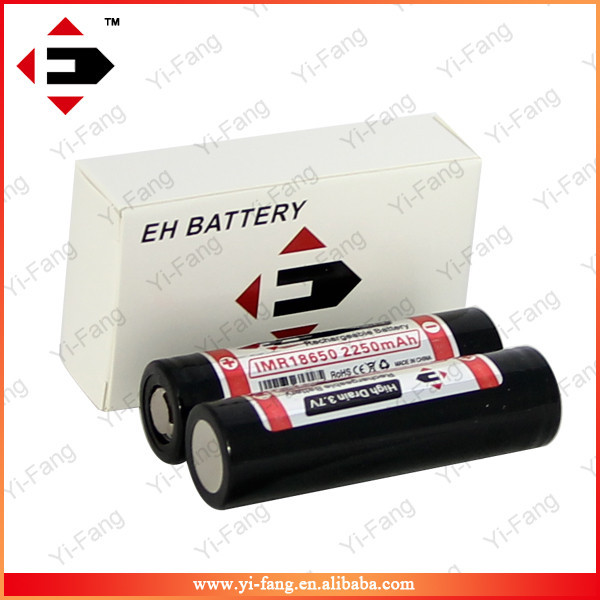 Newest High Drain IMR EFAN 18650 2250mAh 3.7V battery flat top(1pc) for e-cigs
