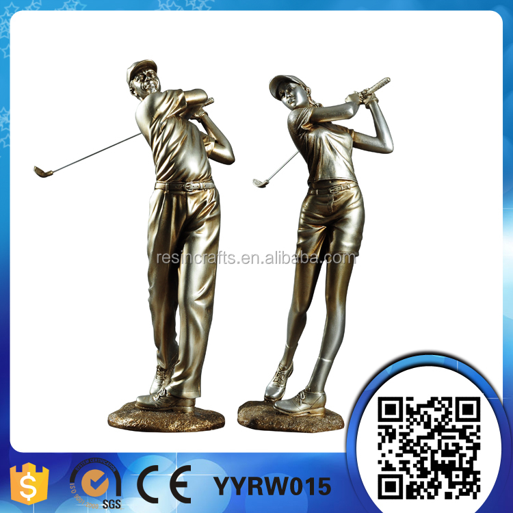polyresin playing golf ball sportsman figurine statue