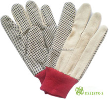 KS-318TR-3 CANVAS GLOVE WITH BLACK PVC DOT
