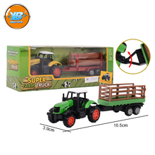 Yibao children's free wheel 3 colors small scale transport truck tractor trailer toy with plastic wood and gas storage
