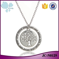 Fashion jewelry zinc alloy circle lettering pendant dream hope trust tree of life necklace