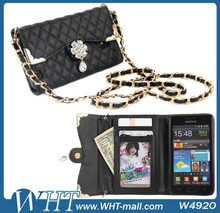 New Arrival Cell Phone Case For Samsung Galaxy S2 Camellia Diamond Wallet Purse Cases