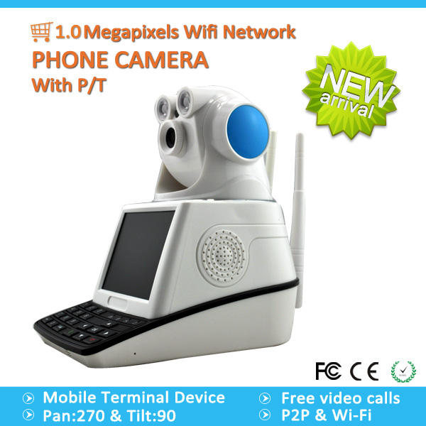 1.0Megapixels Wifi Network phone Camera with P/T,ip wireless camera