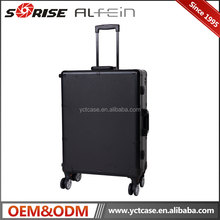 Aluminium black color large trolley lighted beauty makeup cosmetic case with lights mirror bulbs wheels