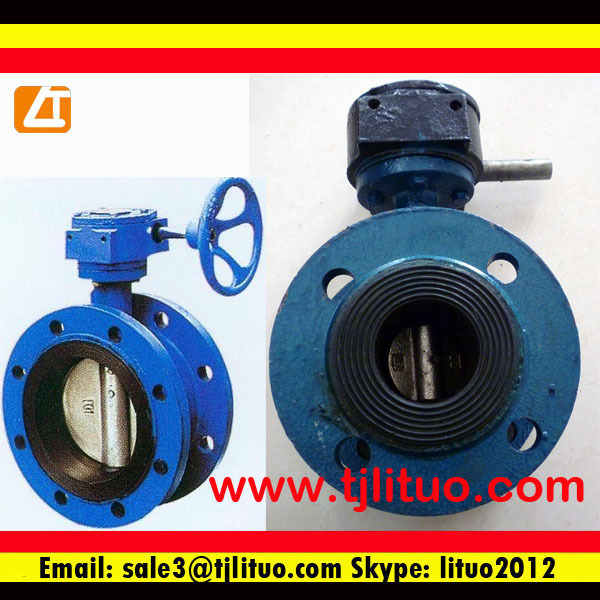 watergas double flanged eccentric butterfly valve