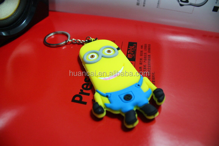 Best selling cute cartoon characters yellow minion pvc key chain for gift