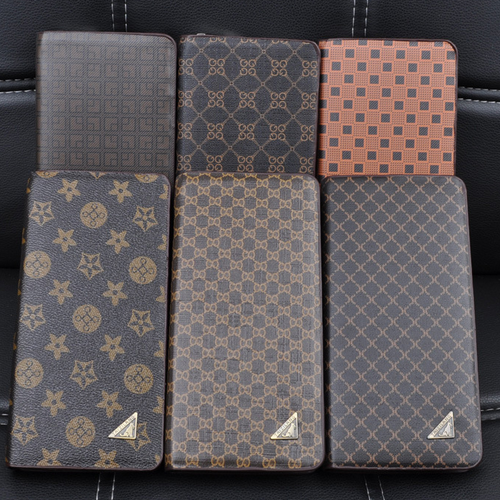 China direct manufacture high quality custom leather credict card wallet long pattern zipper men wallet