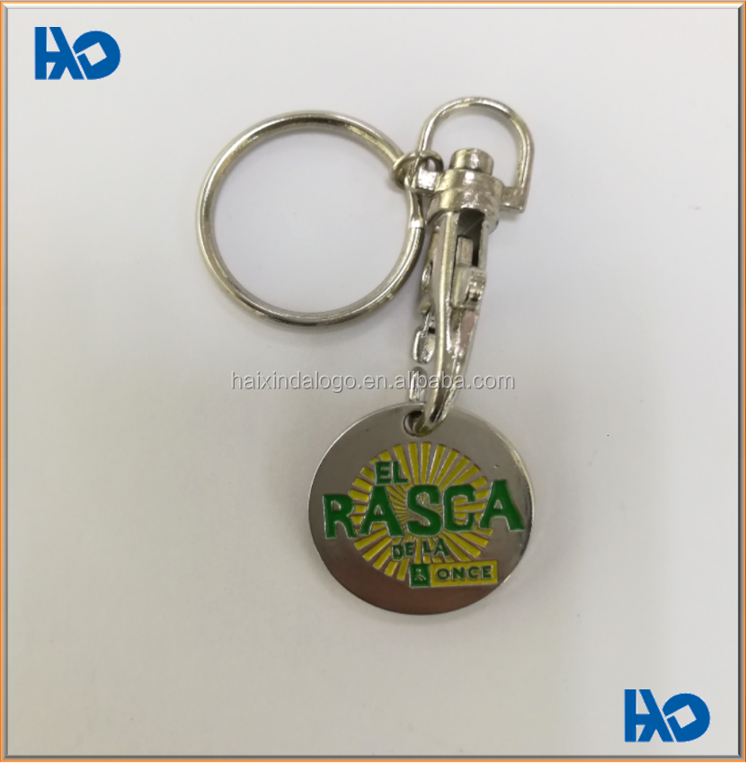 Custom fashion decorative metal security badge with key chain