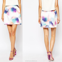 Popular rainbow color Spray paint pattern printed short skirts