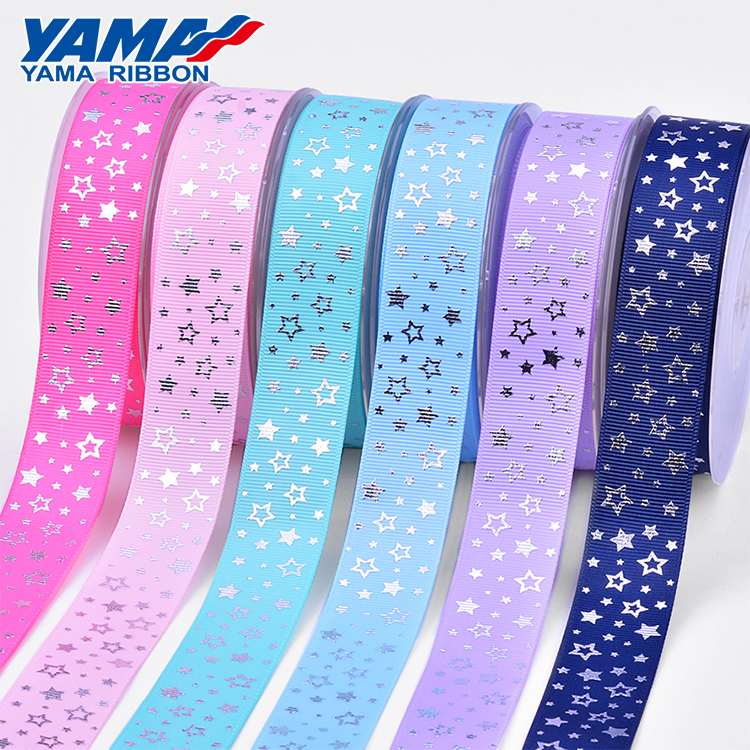 YAMA design stocked silver stamping stars grosgrain ribbon