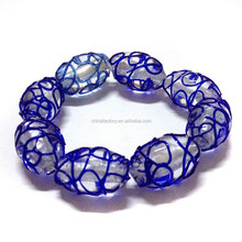 Wholesale Popular Stretch Colored Blue Glass Lampwork Murano Bead Bracelet