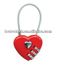 love heart shape cable combination padlock