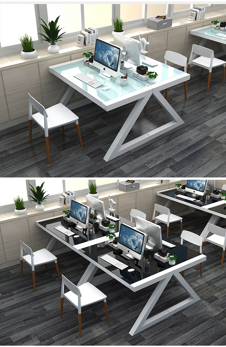 Factory Wholesale Big Lots Computer Desk Study Glass Organizer White  Standing  Office Desk  Screen Partition desk office