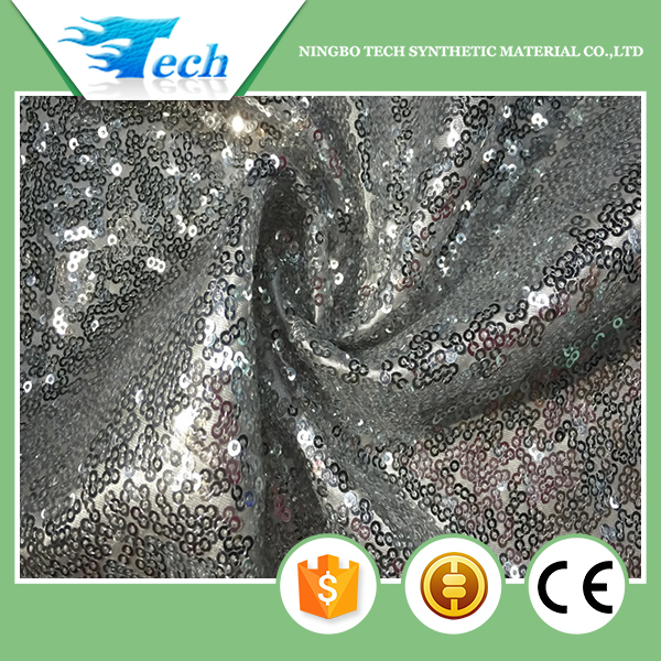 silver embroidery fabric sequin mesh fabric for wedding