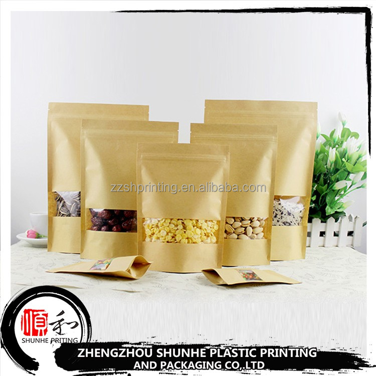 17cm*24cm+4cm food grade resealable HD window dry fruit packing stand up pouch kraft gift bags
