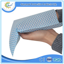 disposable spunlace nonwoven hospital washing glove blue and white strip wash glove hand towels