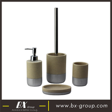 BX Group top grade 4pcs resin bathroom accessories set sand powder coated table set