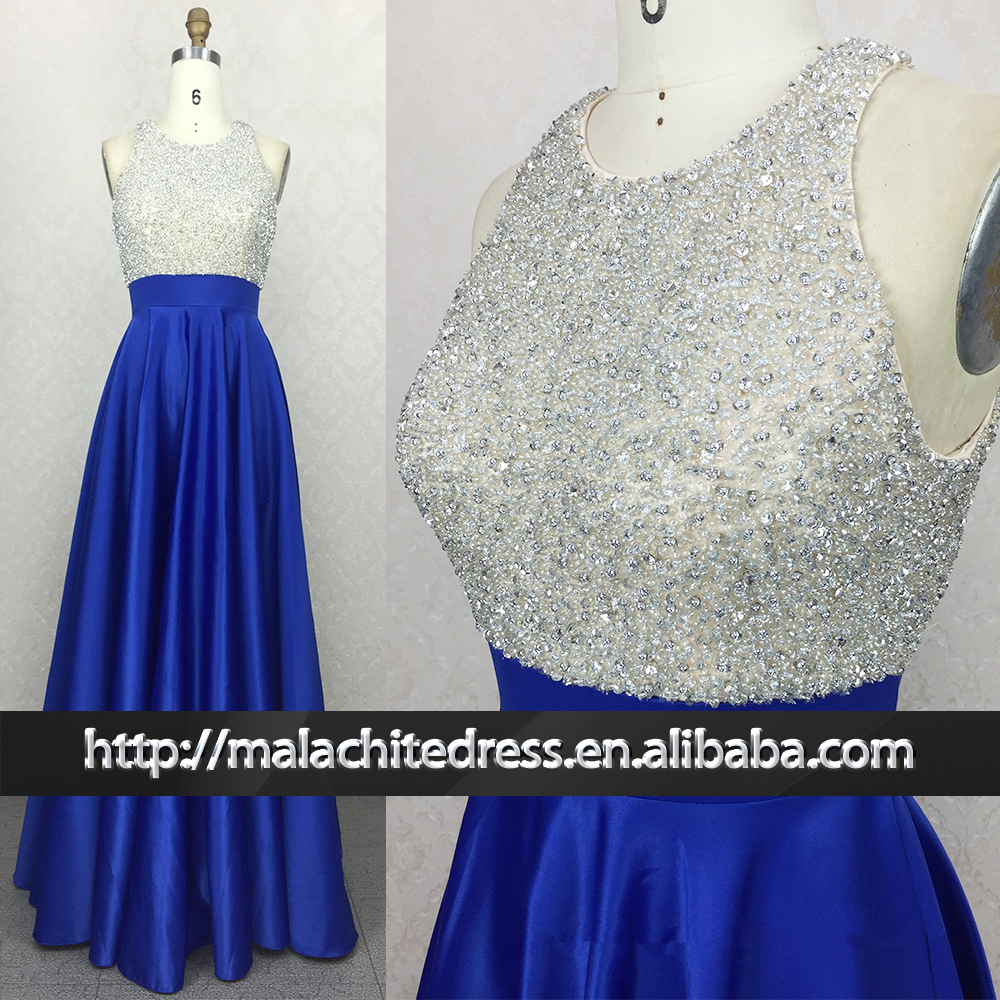 Wholesale OEM and ODM Royal blue beaded Rhinestone Prom Dress