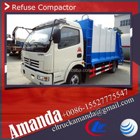 Dongfeng 6000L 1.2 tons mini compact garbage trucks, hydraulic garbage compactor truck