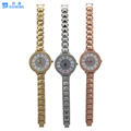 Most popular women waterproof watch with fake diamond on dial