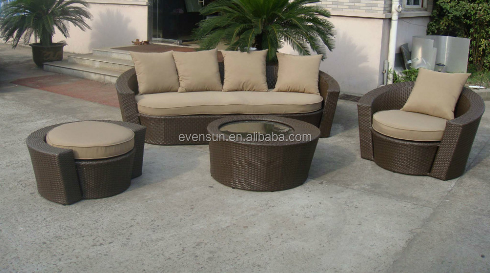 Romanian 4 pcs outdoor rattan furniture sofa set on discount