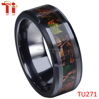 Women IP black plating tungsten carbide realtree camo wedding rings bands