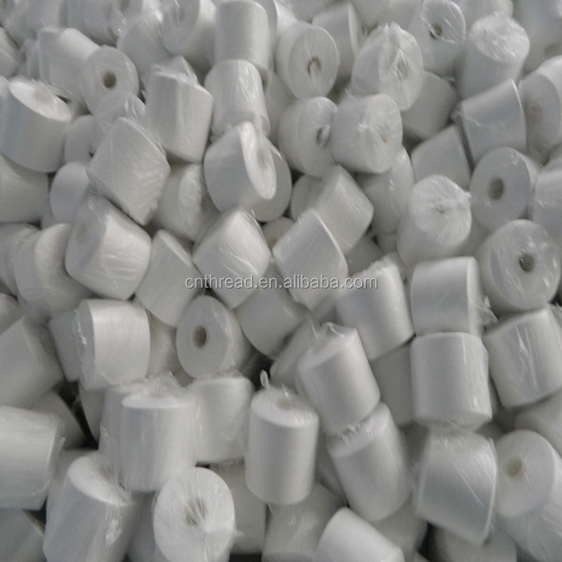 Industrial natural white 100% polyester yarn for leather products