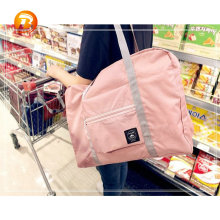 Reusable multifunction waterproof polyester ladies tote foldable shoulder bag