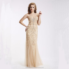 2018 Gorgeous Sleeveless Heavy Beads and Stones Puppy Tulle Gold Sexy Long Evening Dress