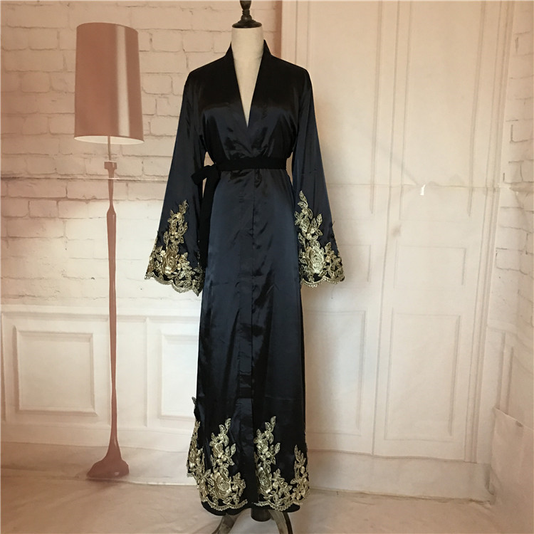 Hotsale Islamic Clothing Silk Satin Lace Open Abaya Indian Dubai Kaftans With Lace