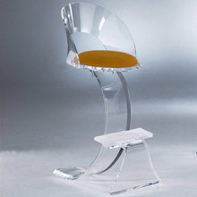 Inexpensive products salon clear curved acrylic dinning chair