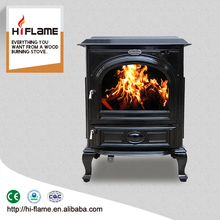 HiFlame Mid-Sized Indoor Cast Iron Wood Burning Stove Heating Stove HF717UA Enamel Black