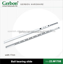 17mm mini single extension side mounted ball bearing drawer slide
