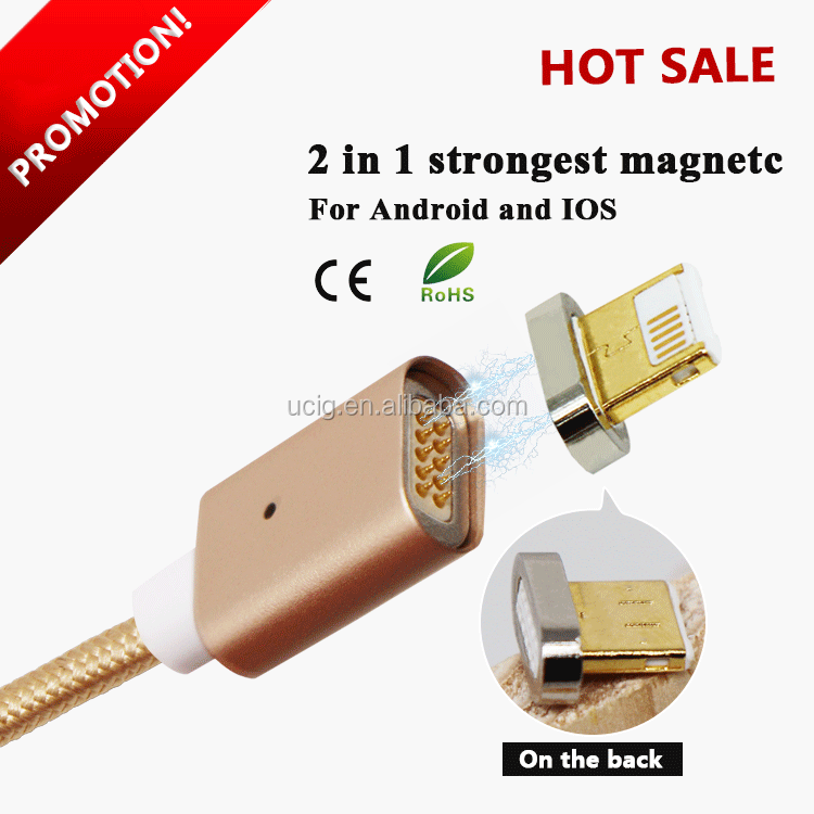 10pin 2 in 1 usb cable with strong magnet two sided usb charging cable max 2.4 A magnetic usb cable